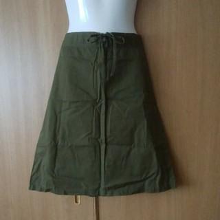 ナイスクラップ(NICE CLAUP)のNICE CLAUP カーキ色ひざ丈スカート(ひざ丈スカート)