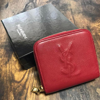 Saint Laurent - Yves Saint Laurent イヴサンローラン 折り畳み財布 赤 美品