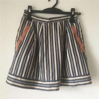 ナイスクラップ(NICE CLAUP)の着用一回  NICE CLAP 春ボーダースカート(ひざ丈スカート)