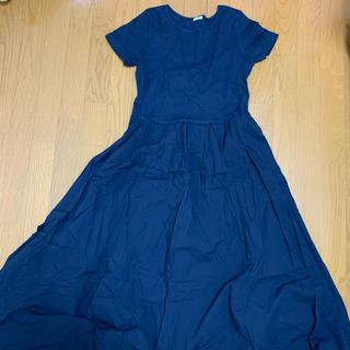 GU - GU 半袖紺色ロングワンピース Lサイズ