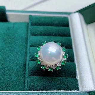 【超お買い得品】天然南洋白蝶真珠 サンフラワーリング12mm(リング(指輪))