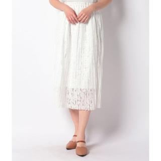 ナイスクラップ(NICE CLAUP)の新品 定価5390円 ナイスクラップ レース柄のロングスカート  ホワイト大特価(ロングスカート)