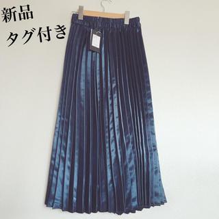 しまむら - サテン プリーツスカート 青 紺