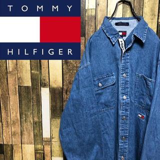 TOMMY HILFIGER - 【激レア】トミージーンズ☆テープロゴラインフラッグ刺繍ロゴデニムシャツ 90s