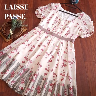 レッセパッセ(LAISSE PASSE)のレッセパッセ 花柄 ロマンティック ワンピース レース シフォン ふんわり (ひざ丈ワンピース)