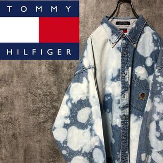 TOMMY HILFIGER - 【激レア】トミーヒルフィガー☆ブリーチ加工オールド刺繍ロゴポケットデニムシャツ