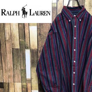 Ralph Lauren - 【激レア】ラルフローレン☆ワンポイント刺繍ロゴレトロストライプシャツ 90s