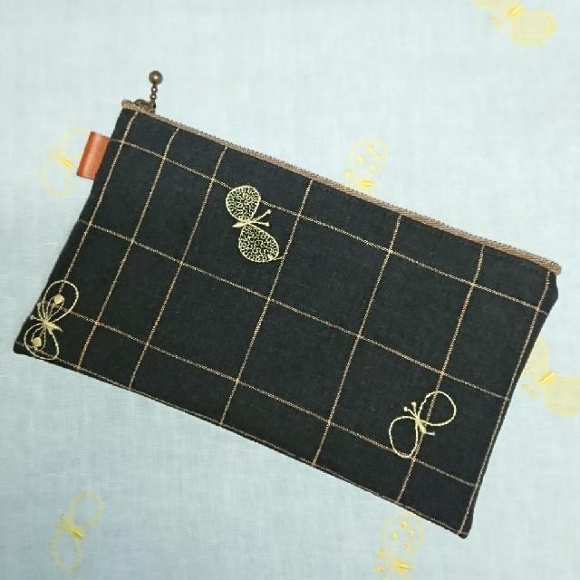 mina perhonen - ハンドメイド*ミナペルホネンchoucho ブラック フラットポーチ③の通販
