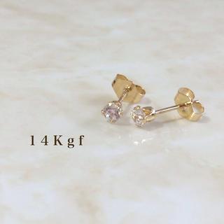 アガット(agete)の14kgf/K14gf 一粒ダイヤCZピアス/一粒ダイヤピアス 3ミリ ゴールド(ピアス)