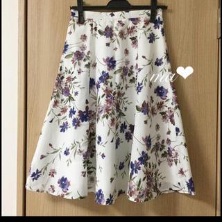 JUSGLITTY - 美品 JUSGLITTY 春の花柄フレアスカート ウエスト 64cm 水彩柄