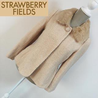 ストロベリーフィールズ(STRAWBERRY-FIELDS)のストロベリーフィールズ ラビットファー襟付きジャケット ベージュ(ノーカラージャケット)