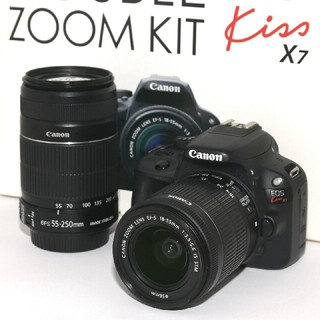 Canon - ❤Canon❤バッテリー2個付き❤新品SD付き❤Kiss x7ダブルレンズキット
