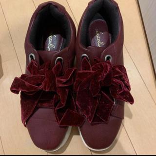ダズリン(dazzlin)のベロア リボン シューズ(ローファー/革靴)