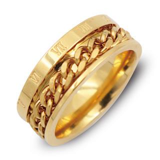 指輪 メンズ リング ローマ数字 ゴールド 喜平チェーン サージカルステンレス(リング(指輪))