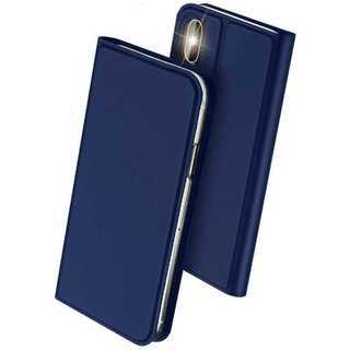 iPhoneX/XS(ネイビー)手帳型マグネット付き(iPhoneケース)