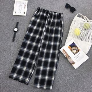 【XL/ブラック】チェック柄ワイドレッグパンツ(カジュアルパンツ)