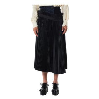 サカイ(sacai)の【新品】sacai メルトンウール×ナイロンプリーツスカート 2(ひざ丈スカート)