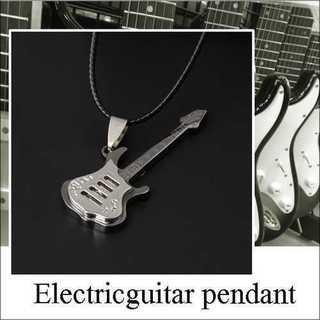アクセサリー ネックレス エレキギター チタン鋼 シルバー ペンダント バンド(ネックレス)