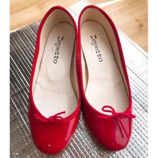 repetto - レペット 赤 ヒール 35 22cm エナメル バレエシューズ パンプス 靴