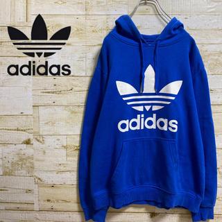 adidas - 【デカロゴ】 アディダス パーカー ビッグトレフォイルロゴ 裏起毛 ブルー
