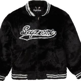 Supreme - Supreme Faux Fur Varsity Jacket Black