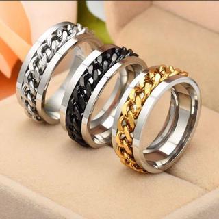 581★ 喜平チェーン嵌め込みサージカルステンレス指輪(リング(指輪))