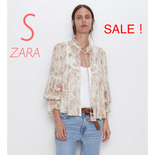 ZARA - 新品未使用 ZARA 花柄 刺繍 バルーンスリーブ リボン ブラウス ジャケット