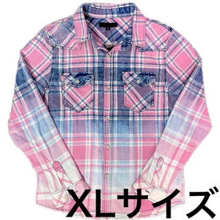 グラデーション インディゴ染め ウォッシュ加工 チェックシャツ XL