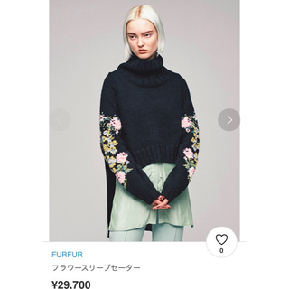 fur fur - 【新品】タグ付き FURFUR ファーファー 花刺繍 フラワースリーブセーター