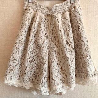 axes femme - フレアーキュロットスカート やわらか 透けるレース フリフリ リバーシブル 春服