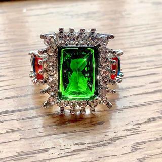新品 エメラルド風 マルチカラー ストーン 宝石 指輪 大粒リング ジュエリー(リング(指輪))