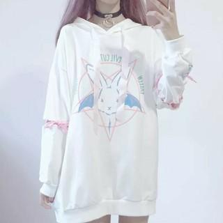 ウサギ 魔法陣 韓国 ビックシルエットパーカー フリーサイズ ホワイト(パーカー)