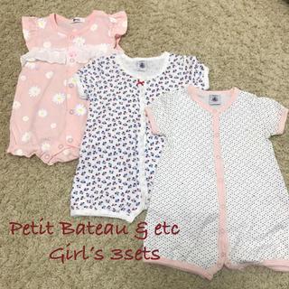 PETIT BATEAU - プチバトー&べべ 女の子ロンパース サイズ70 半袖