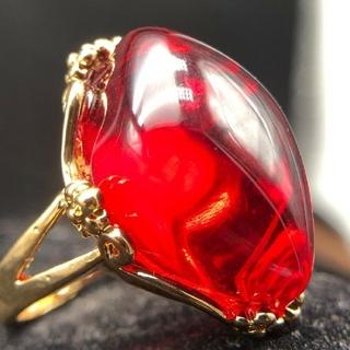 【TB17220431】K18GP 赤血珀  大粒 琥珀 リング(リング(指輪))
