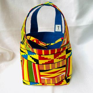 マルチカラー 小 ランチバッグ 帆布 リバーシブル アフリカ布 バオバブ神戸(トートバッグ)