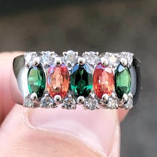 サファイアリング ガーネット ダイヤモンド 指輪 pt900 プラチナ900(リング(指輪))