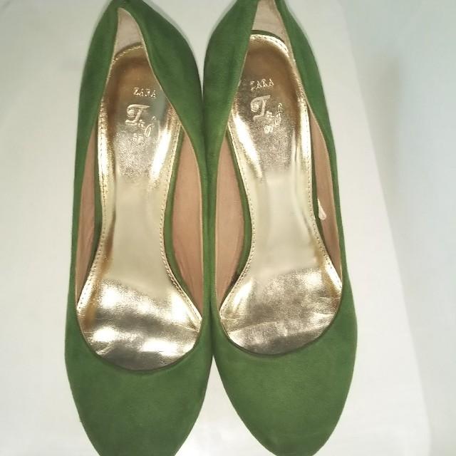 ZARA(ザラ)の⭐️ZARA ザラ パンプス グリーン スエードサイズ37 レディースの靴/シューズ(ハイヒール/パンプス)の商品写真