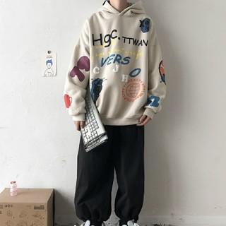 大人気韓国ファッション ユニー プリント オーバーサイズパーカー kwjfi