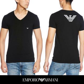 Emporio Armani - 44 EMPORIO ARMANIブラック ロゴ VネックTシャツXL