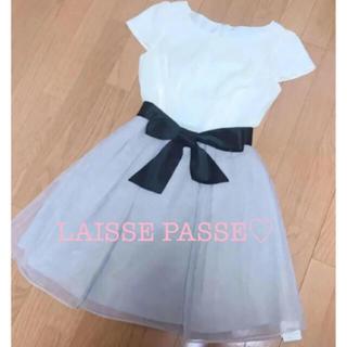 レッセパッセ(LAISSE PASSE)のレッセパッセ タグ付き♡リボン シフォン ワンピース (ひざ丈ワンピース)