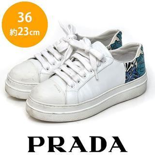 PRADA - プラダ バックフラワー柄 レディーススニーカー 36(約23cm)