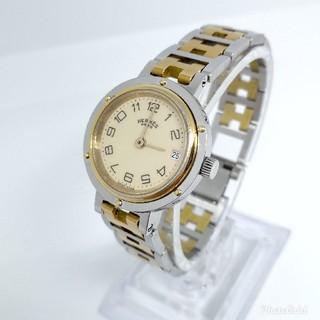 Hermes - HERMES エルメス クリッパー コンビ レディースモデル 腕時計
