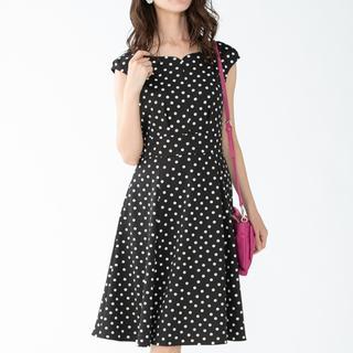 トッカ(TOCCA)のTOCCA ワンピース 水玉 ブラック 洗える BRICK ドレス(ロングワンピース/マキシワンピース)