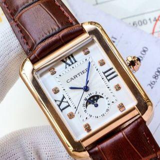 Cartier - カルティエ 自動巻き 腕時計 ゴールド 美品 牛革 メンズ 男性 人気