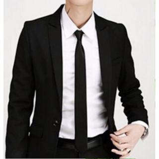男性用ネクタイ 黒 ブラック 細め おしゃれ 結婚式 256