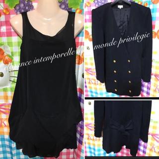フォクシー(FOXEY)のフォクシー ニューヨーク 美しい ブラックドレス ワンピース コート 2着セット(ミニドレス)