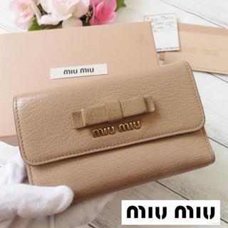 miumiu - 美品❤ミュウミュウ♡折り財布✨財布♡箱・カード付き☆リボン☆ピンク 24