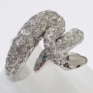美品!! 蛇 スネーク サファイア リング 指輪 k18wg 750 ホワイト(リング(指輪))