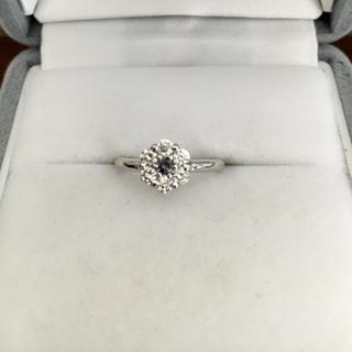 ダイヤモンド×アレキサンドライト リング K18WG 0.06ct 0.29ct(リング(指輪))