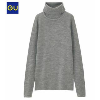 GU - GU ジーユー リブタートルネックセーター グレー